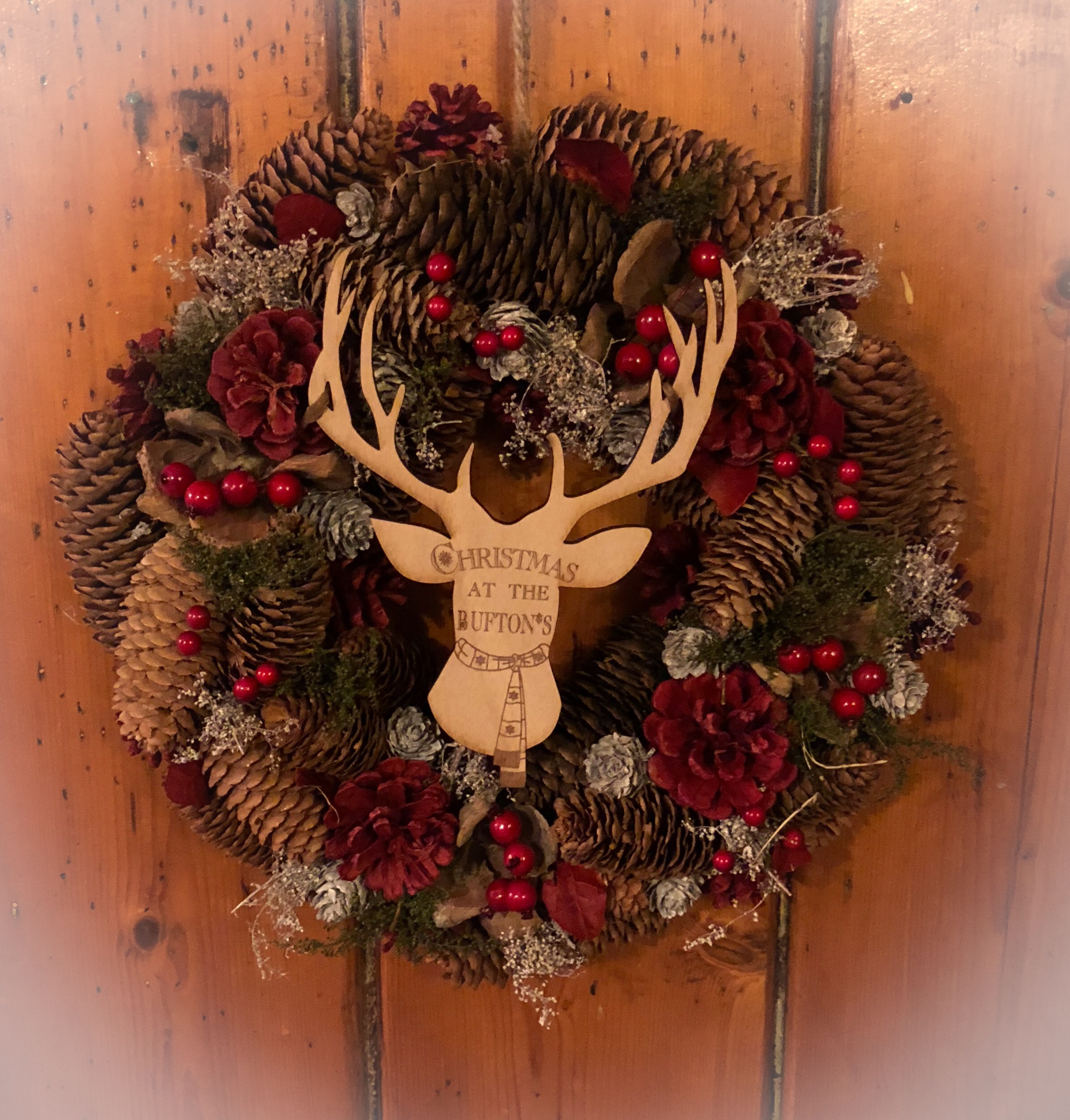 Personalised Stag Head Christmas Wreath